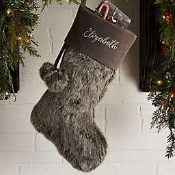 Embroidered Grey Fur Christmas Stocking
