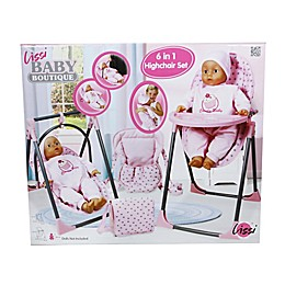 6-in-1 Doll High Chair in Pink