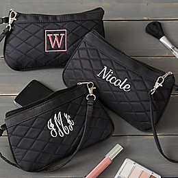 Embroidered Quilted Wristlet