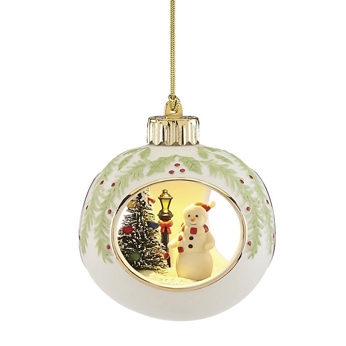 Alternate image 1 for Lenox® Lit Snowman Scene Christmas Ornament