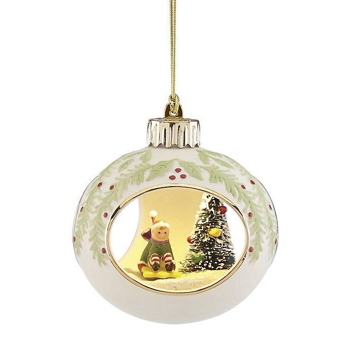 Lenox Lit Elf Scene Ornament