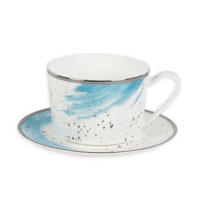 Alternate image 1 for Olivia & Oliver® Harper Splatter Platinum Teacup and Saucer in Aqua