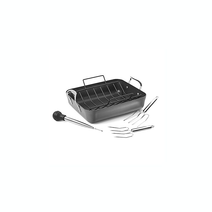 Alternate image 1 for Calphalon® Contemporary™ Nonstick 5-Piece 16-Inch Roaster and Rack Set