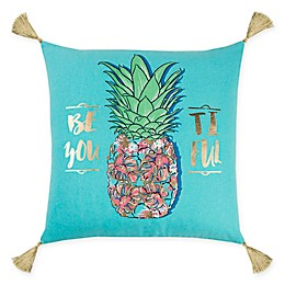 Rizzy Home Pineapple Square Throw Pillow in Aqua