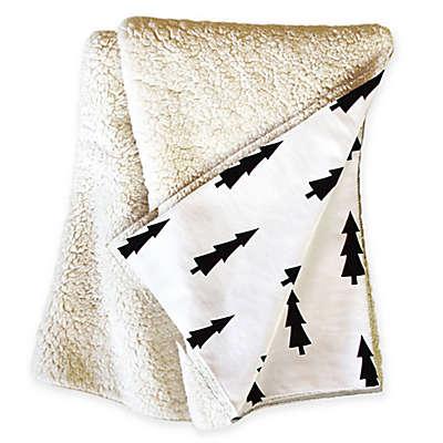 Deny Designs Joyeux Noel Sherpa Throw Blanket in Black