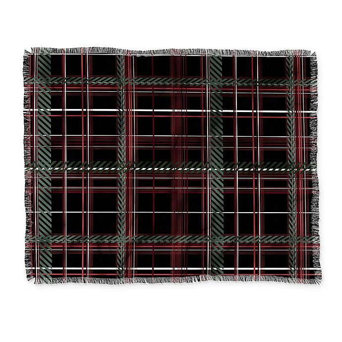 Alternate image 1 for Deny Designs Festive Plaid Throw Blanket in Black/Green/Red