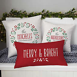 Christmas Wreath Personalized Throw Pillow Collection