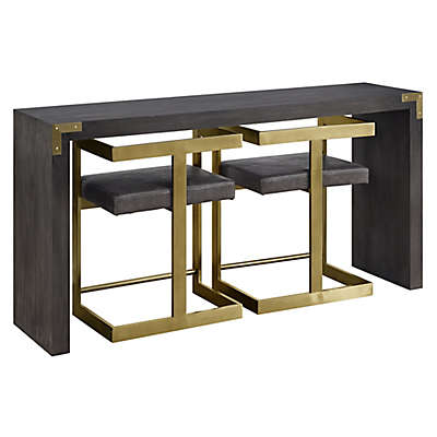 Coast to Coast Imports Russell 3-Piece Console Table and Stools Set in Grey/Gold