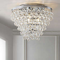 """JONATHAN Y Toronto 16"""" Metal/Crystal LED Flush Mount in Oil Rubbed Bronze"""