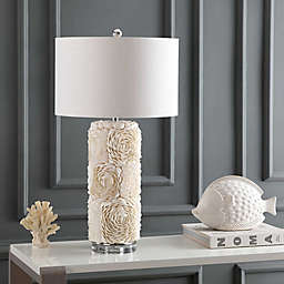 "JONATHAN Y Rosette 28.5"" Seashell/Crystal LED Table Lamp in Cream"