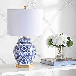 "JONATHAN Y Gretchen 25"" Ginger Jar Ceramic/Metal LED Table Lamp in Blue"