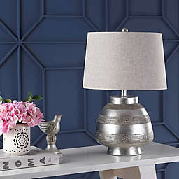 """JONATHAN Y Ziggy 24"""" Resin LED Table Lamp in Antique Silver"""