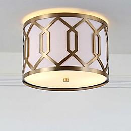 "JONATHAN Y Hex 2-Light 12.5"" Metal LED Flush Mount in Brass Gold"