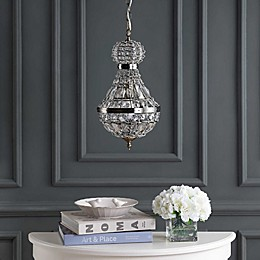 JONATHAN Y Regina Crystal/Metal Empire LED Chandelier in Antique Brass