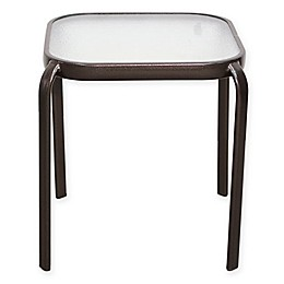 Never Rust Outdoor Aluminum and Glass End Table in Brown