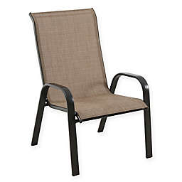 Never Rust Outdoor Aluminum Sling Dining Chair in Brown