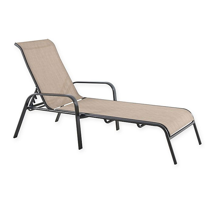 Alternate image 1 for Never Rust Outdoor Aluminum Sling Chaise Lounge in Brown