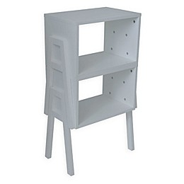 Stacking End Table/Bookcase in White (Set of 2)