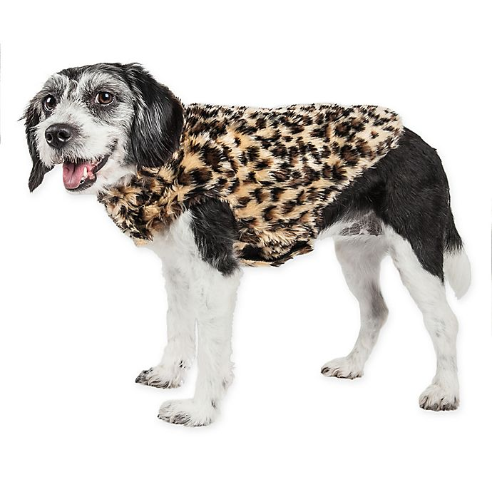 Alternate image 1 for Pet Life® Luxe Poocheetah Mink Dog Coat in Brown
