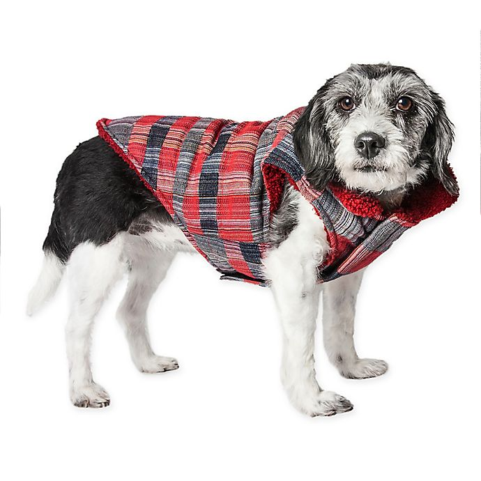 Alternate image 1 for Medium Scotty Tartan Plaid Insulated Dog Coat in Red