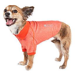 Pet Life® Active Medium Fur-Flexed Solid Polo T-Shirt in Orange