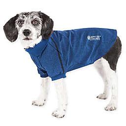 Pet Life® Active Medium Fur-Flexed Solid Polo T-Shirt in Navy