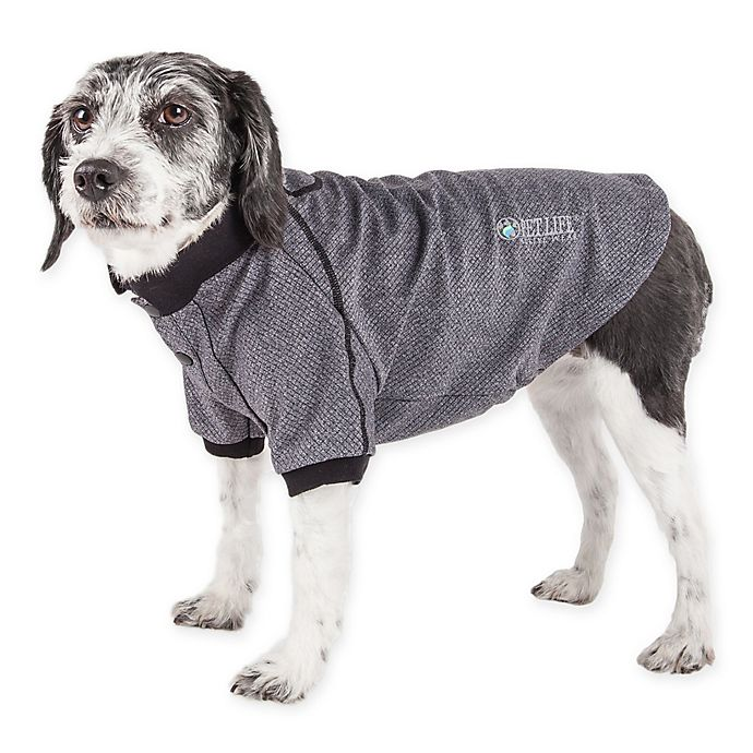 Alternate image 1 for Pet Life Active Large Fur-Flexed Solid Polo T-Shirt in Grey