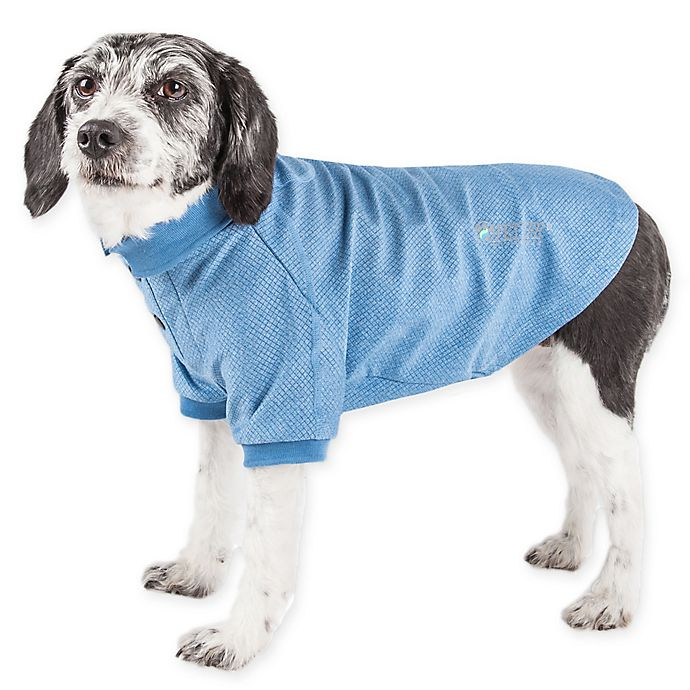 Alternate image 1 for Pet Life Active Large Fur-Flexed Solid Polo T-Shirt in Blue