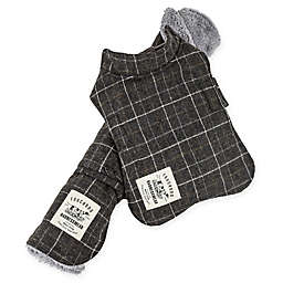 Touchdog® 2-in-1 Windowpane Plaid Large Dog Jacket with Reversible Dog Mat in Charcoal