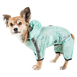 Pet Life® Torrential Shield Small Full Body Dog Windbreaker Raincoat in Green