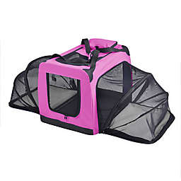 Medium Hounda Accordion Metal Frame Collapsible and Expandable Dual Sided Pet Crate in Pink