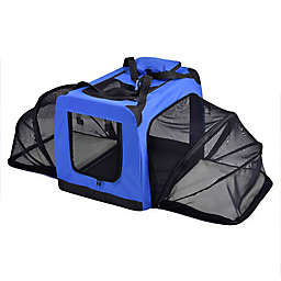 Medium Hounda Accordion Metal Frame Collapsible and Expandable Dual Sided Pet Crate in Blue