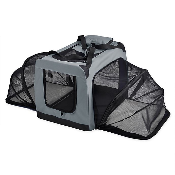 Alternate image 1 for Hounda Accordion Metal Frame Collapsible and Expandable Dual Sided Pet Crate