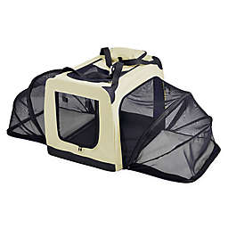 X-Large Hounda Accordion Metal Frame Collapsible and Expandable Dual Sided Pet Crate in Khaki