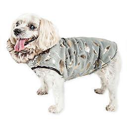 Pet Life® Medium Luxe Gold Wagger Gold-Leaf Designer Fur Dog Coat in Grey