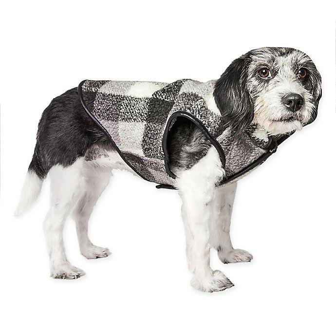 Alternate image 1 for Medium Black Boxer Plaid Insulated Dog Coat