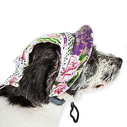 Pet Life® Botanic Bark Medium Floral Canopy Dog Hat in White