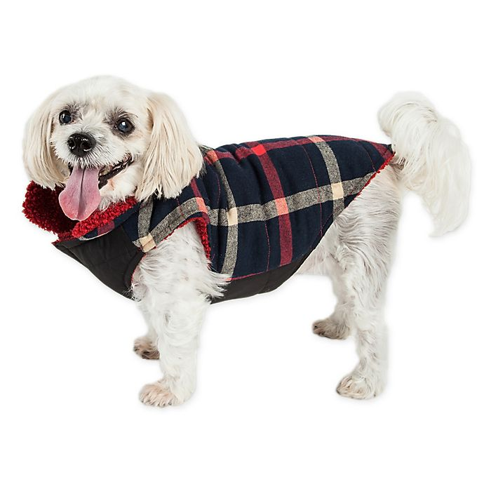 Alternate image 1 for Pet Life® Medium Allegiance Plaid Insulated Dog Coat in Blue