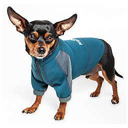 Pet Life® Small Helios Eboneflow 4-Way Stretch Performance Yoga Dog T-Shirt in Blue