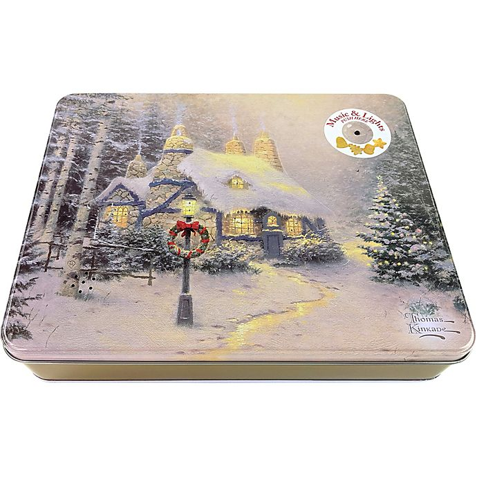 Christmas Tin Cookies.Thomas Kinkade Music Light Holiday Cookie Tin Bed Bath