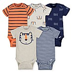 Gerber® Size 0-3M 5-Pack Tiger Short Sleeve Bodysuits in Beige
