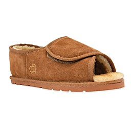 Lamo Luxury Open Toe Wrap Men's Slipper in Chestnut