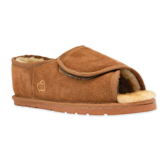 Alternate image 1 for Lamo Luxury Open Toe Wrap Men's Slipper in Chestnut