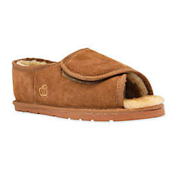 Lamo Luxury Size Small Open Toe Wrap Men's Slipper in Chestnut