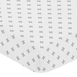 Sweet Jojo Designs Swiss Cross Fitted Crib Sheet in White/Grey