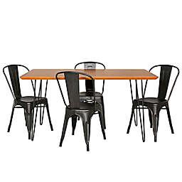 Forest Gate™ Mid-Century 5-Piece Dining Set in Black/Walnut