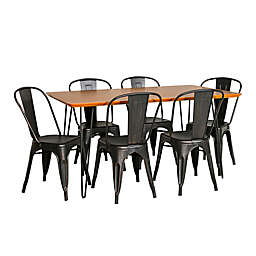 Forest Gate™ Mid-Century 7-Piece Dining Set in Black/Walnut