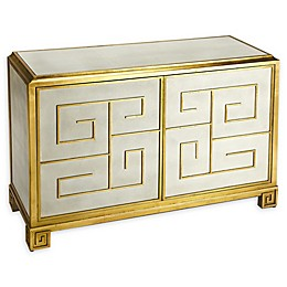 Butler Bello Leather Console Cabinet in White/Gold
