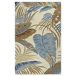 KAS Rainforest Palms Rug in Ivory/Blue