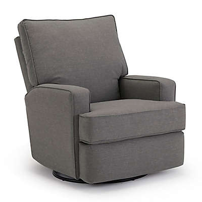 Best Chairs Kersey Swivel Glider Recliner in Charcoal